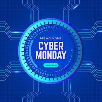 Realistisches technologie-cyber-montag-konzept