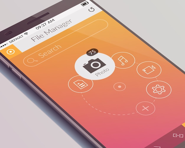 Realistisches telefonentwurfskonzept mit isolierter touchscreen- und mobiler benutzeroberflächenanwendung