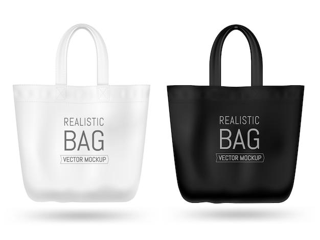 Realistisches textiles einkaufstaschenmodell. schwarz und weiß.