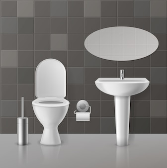Realistisches toiletteninterieur. weiße toiletten, keramik-hygieneartikel, spüle mit wasserhahn. wc sitz und spiegel home zeitgenössisches konzept