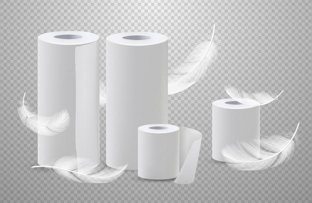 Realistisches toilettenpapier und papiertücher mit federn