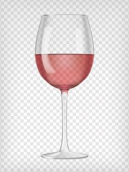 Realistisches transparentes glas gefüllt mit rotwein