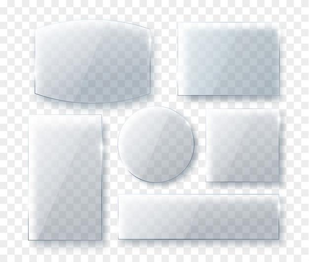 Realistisches transparentes glasplatten-set. verschiedene formen glasplatten. glasstruktur mit shado