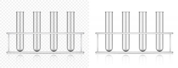 Realistisches transparentes reagenzglas für die wissenschaft