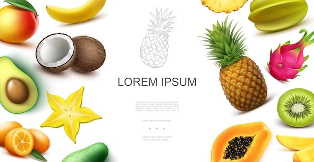 Realistisches tropisches exotisches fruchtkonzept mit avocado-bananen-kokosnuss-kumquat-mango-ananas-karambola-kiwi-papaya-drachenfrucht