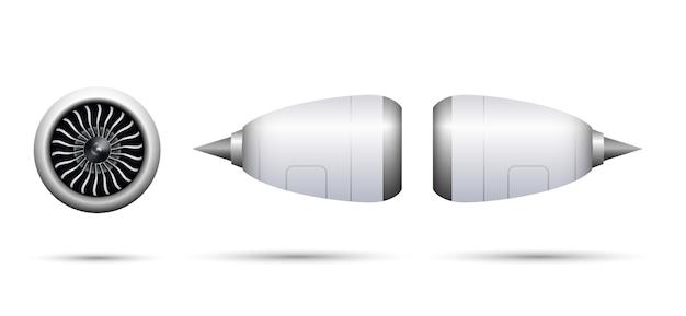 Realistisches turbostrahltriebwerk des flugzeugs lokalisiert auf weißem hintergrund
