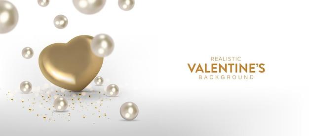 Realistisches valentinstagbanner mit goldenem herzen und perlen, die von oben fallen