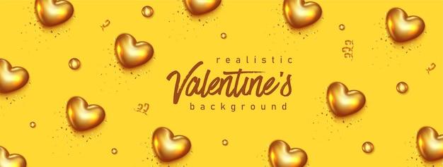 Realistisches valentinstagbanner mit herzen