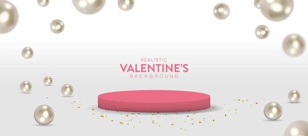 Realistisches valentinstagbanner mit rotem podium und perlen