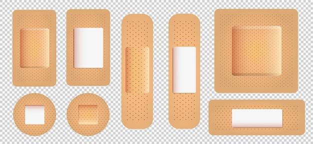 Realistisches vektor-medizinisches pflasterset klebestreifenverband aid patch-streifen mit textur