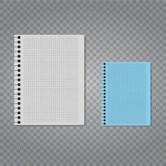 Realistisches vektornotizbuch eingestellt auf transparenten hintergrund.