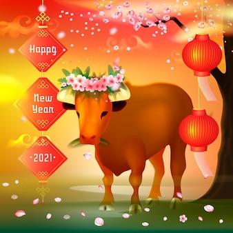 Realistisches vietnamesisches neues jahr mit stier