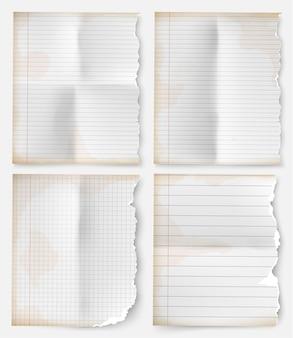 Realistisches vintage-zerrissenes blatt notizbuchpapier