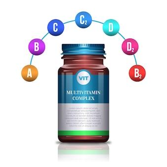 Realistisches vitaminkomplexpaket