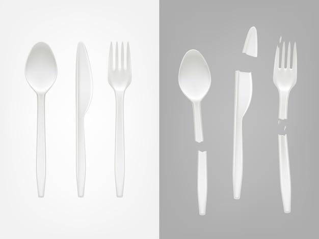 Realistisches wegwerfplastiktischbesteck 3d - löffel, gabel, messer und gebrochene werkzeuge