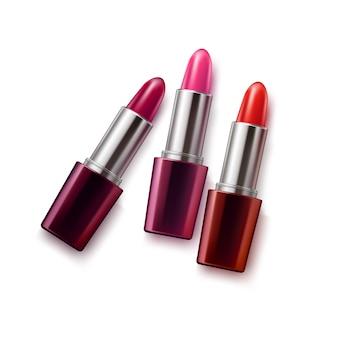 Realistisches weibliches lippenstiftset
