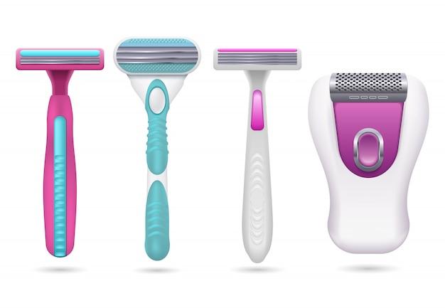 Realistisches weibliches rasiermesser. frauenhygienerasierapparate eingestellt lokalisiert