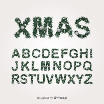 Realistisches weihnachtsbaumalphabet