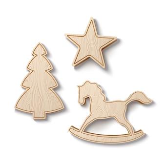 Realistisches weihnachtsbaumholzspielzeug für winterferien-vektorholz-schaukelpferd-sternbaum