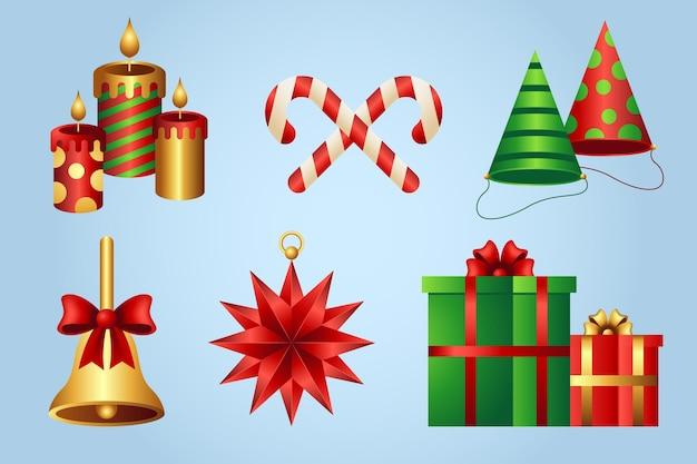 Realistisches weihnachtsdekorationspaket