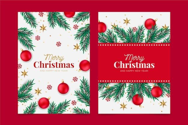 Realistisches weihnachtskartenkonzept