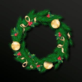 Realistisches weihnachtskranzkonzept
