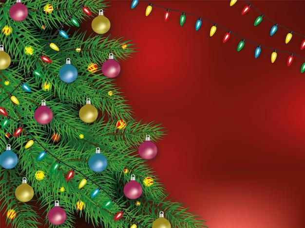 Realistisches weihnachtsplakat und fahne mit verzierten kugeln und girlandenbaum auf einem roten hintergrund. weihnachts- und neujahrs-, dezember- und winterkonzept. realistische illustration mit leerzeichen.
