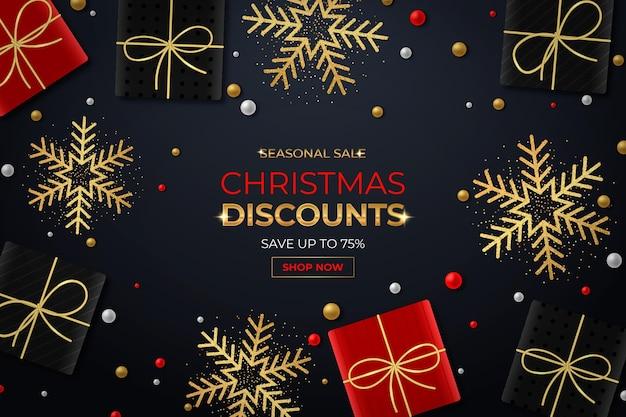 Realistisches weihnachtsverkaufsbanner mit geschenken und schneeflocken