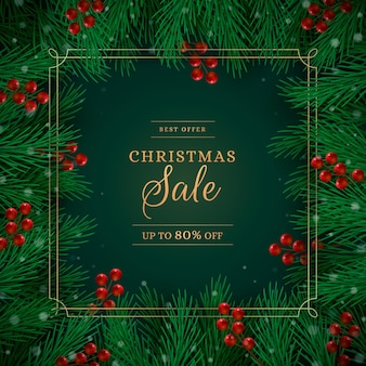Realistisches weihnachtsverkaufsbanner