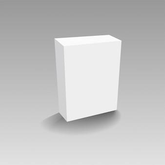 Realistisches weißbuch oder plastikverpackungskasten auf transparentem hintergrund.