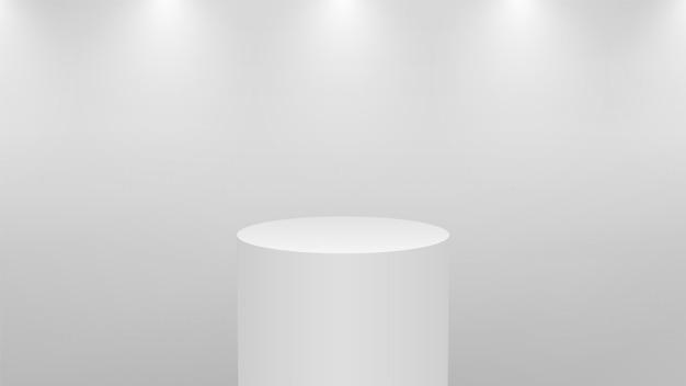 Realistisches weißes 3d-podium für produktanzeige. runder sockel oder plattform in studiobeleuchtung auf grauem hintergrund. zylinder museum schaufenster konzept.