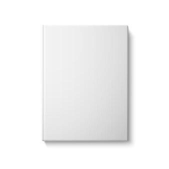 Realistisches weißes leeres hardcover-buch. isoliert auf weißem hintergrund für design und branding