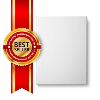 Realistisches weißes leeres hardcover-buch, vorderansicht mit goldenem und rotem bestselleretikett. auf weißem hintergrund für design und branding isoliert.
