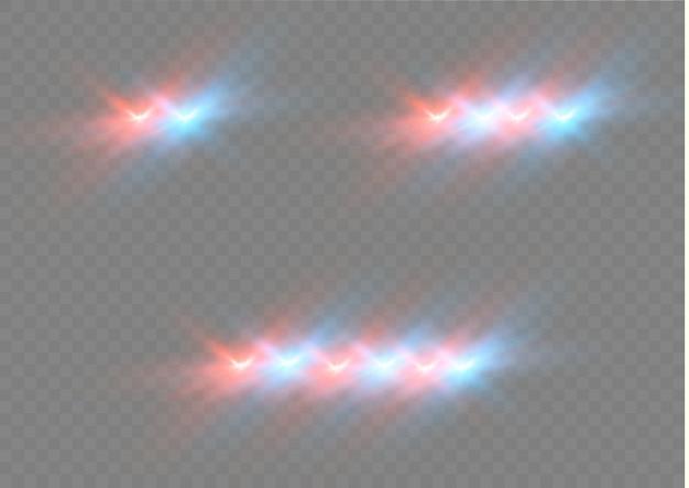 Realistisches weißes leuchten der runden strahlen der autoscheinwerfer