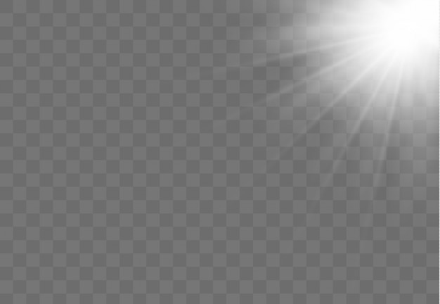Realistisches weißes leuchtendes licht explodiert auf einem transparenten hintergrund. horizontale sternstrahlen und suchscheinwerfer. sonnenschein. unschärfe im licht der ausstrahlung. illustration für banner, poster und karten