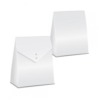Realistisches weißes modell-set, karton zum mitnehmen. leere produktbehältervorlage, illustration
