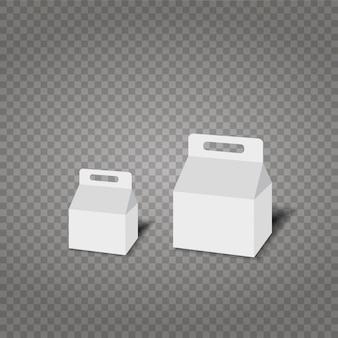 Realistisches weißes papier oder plastikverpackungskasten