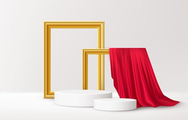Realistisches weißes produktpodest mit goldenen bilderrahmen und rotem seidenvorhang auf weiß