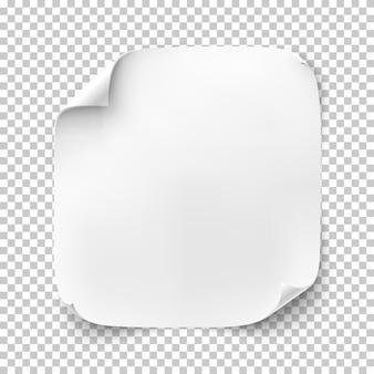 Realistisches weißes quadratisches blatt papier oder fahne lokalisiert auf transparentem hintergrund