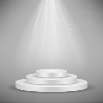 Realistisches weißes rundes podium