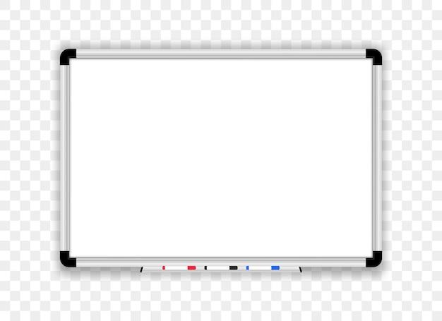 Realistisches whiteboard. bürotafel mit markierungsstiften.