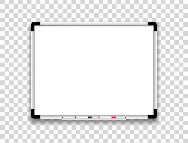 Realistisches whiteboard. weiße magnettafel.
