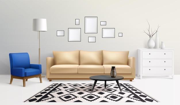 Realistisches wohnzimmer mit möbelillustration