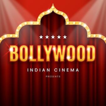 Realistisches zeichen für bollywood-kinonacht