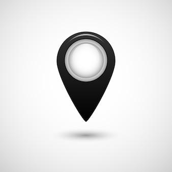 Realistisches zeigersymbol für karte schwarze farbe auf grauem hintergrund isoliert