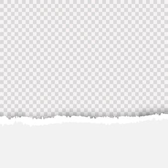 Realistisches zerrissenes papier. ein stück zerrissener, weißer realistischer horizontaler papierstreifen