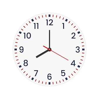 Realistisches zifferblatt mit minuten- und stundenzahlen.