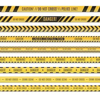 Realsitischer nahtloser satz von polizeilinien- und gefahrenbändern.