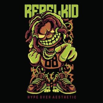 Rebel kid hiphop style illustration