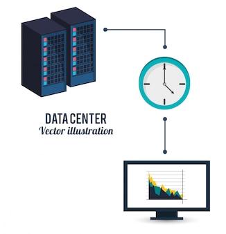 Rechenzentrum uhr computer informationstransfer